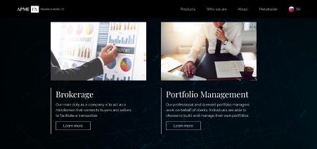 Página web principal de ApmeFX