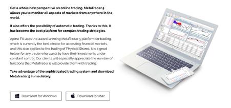 Descarga de la aplicación ApmeFX para Apple y Windows
